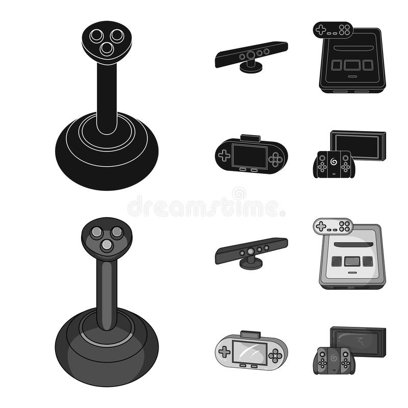 Game and TV set-top box black,monochrom icons in set collection for design.Game Gadgets vector symbol stock web. Game and TV set-top box black,monochrom icons in vector illustration
