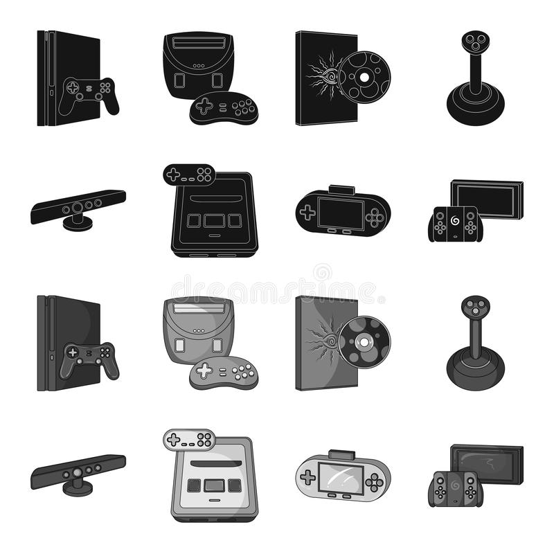 Game and TV set-top box black,monochrome icons in set collection for design.Game Gadgets vector symbol stock web. Game and TV set-top box black,monochrome icons royalty free illustration