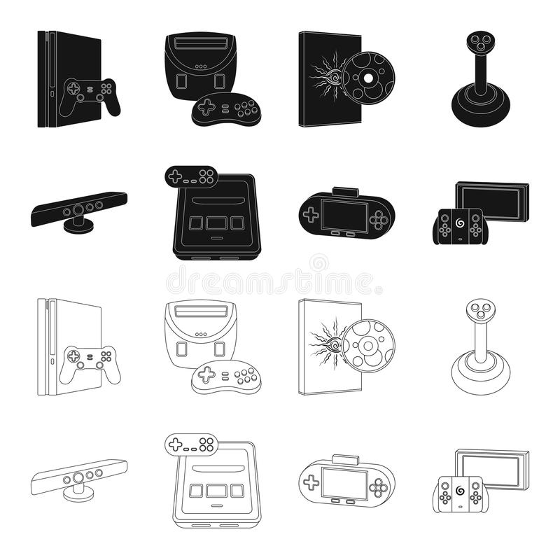 Game and TV set-top box black,outline icons in set collection for design.Game Gadgets vector symbol stock web. Game and TV set-top box black,outline icons in set stock illustration