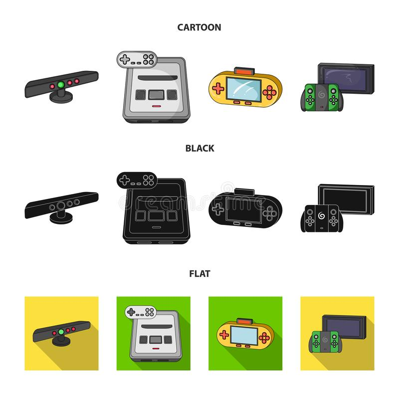 Game and TV set-top box cartoon,black,flat icons in set collection for design.Game Gadgets vector symbol stock web. Game and TV set-top box cartoon,black,flat stock illustration