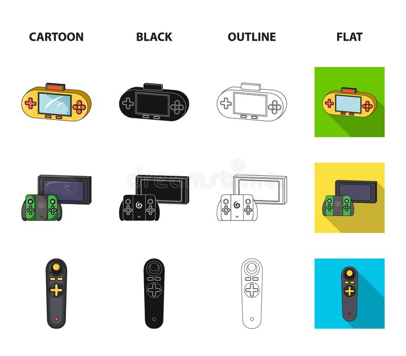 Game and TV set-top box cartoon,black,outline,flat icons in set collection for design.Game Gadgets vector symbol stock. Illustration stock illustration