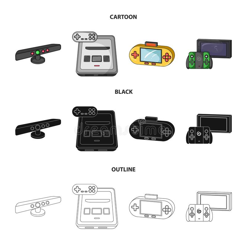 Game and TV set-top box cartoon,black,outline icons in set collection for design.Game Gadgets vector symbol stock web. Game and TV set-top box cartoon,black vector illustration