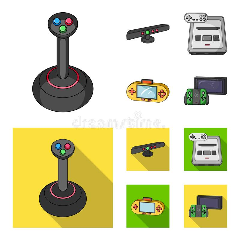 Game and TV set-top box cartoon,flat icons in set collection for design.Game Gadgets vector symbol stock web. Game and TV set-top box cartoon,flat icons in set royalty free illustration