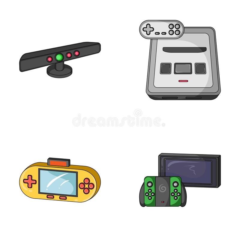 Game and TV set-top box cartoon icons in set collection for design.Game Gadgets vector symbol stock web illustration. Game and TV set-top box cartoon icons in vector illustration