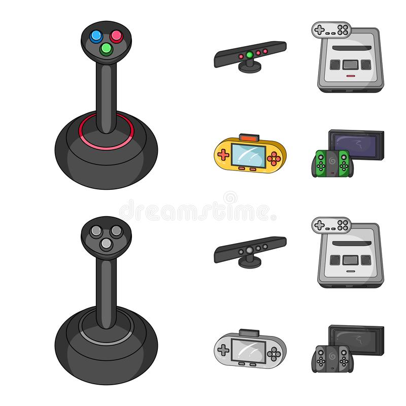 Game and TV set-top box cartoon,monochrome icons in set collection for design.Game Gadgets vector symbol stock web. Game and TV set-top box cartoon,monochrome vector illustration