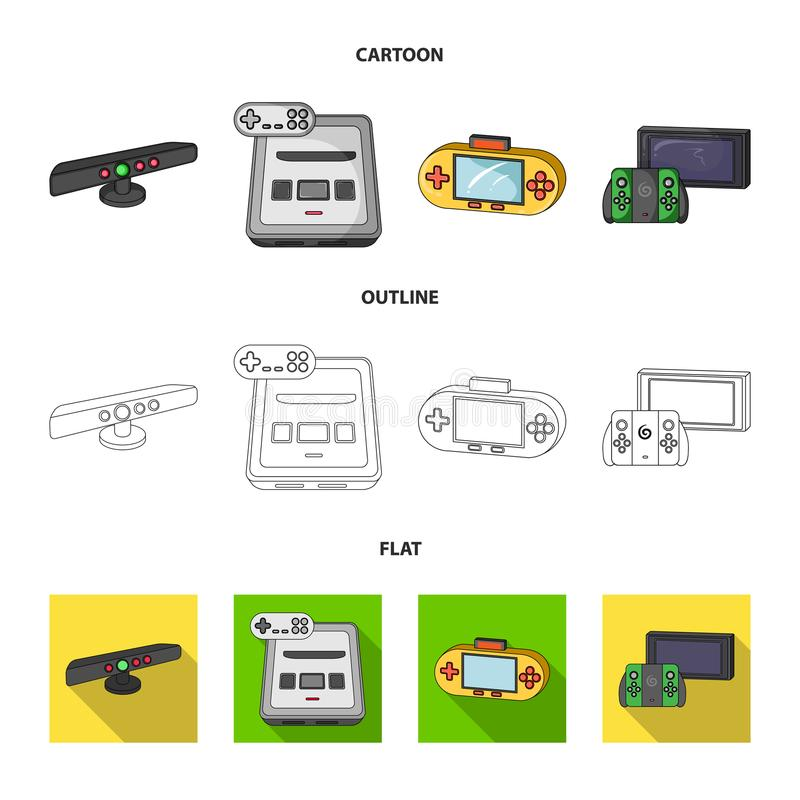 Game and TV set-top box cartoon,outline,flat icons in set collection for design.Game Gadgets vector symbol stock web. Game and TV set-top box cartoon,outline royalty free illustration