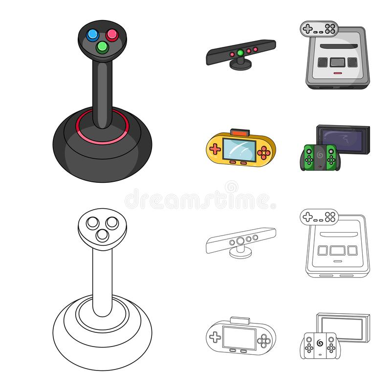Game and TV set-top box cartoon,outline icons in set collection for design.Game Gadgets vector symbol stock web. Game and TV set-top box cartoon,outline icons in royalty free illustration