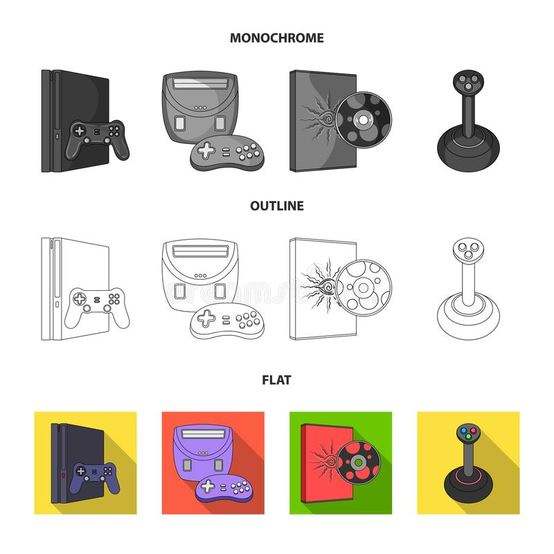Game and TV set-top box flat,outline,monochrome icons in set collection for design.Game Gadgets vector symbol stock web. Game and TV set-top box flat,outline royalty free illustration