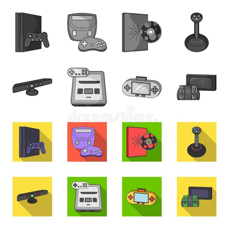 Game and TV set-top box monochrome,flat icons in set collection for design.Game Gadgets vector symbol stock web. Game and TV set-top box monochrome,flat icons in royalty free illustration