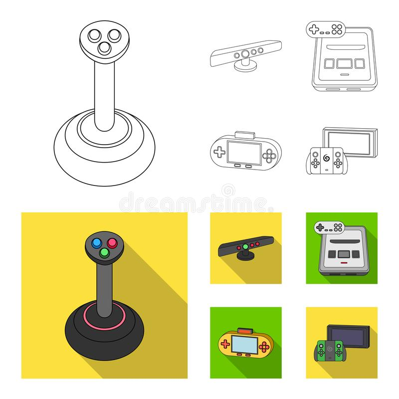 Game and TV set-top box outline,flat icons in set collection for design.Game Gadgets vector symbol stock web. Game and TV set-top box outline,flat icons in set stock illustration