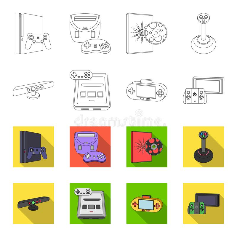 Game and TV set-top box outline,flat icons in set collection for design.Game Gadgets vector symbol stock web. Game and TV set-top box outline,flat icons in set vector illustration