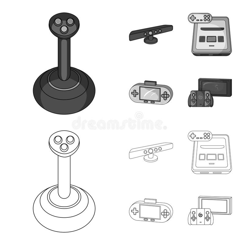 Game and TV set-top box outline,monochrome icons in set collection for design.Game Gadgets vector symbol stock web. Game and TV set-top box outline,monochrome royalty free illustration