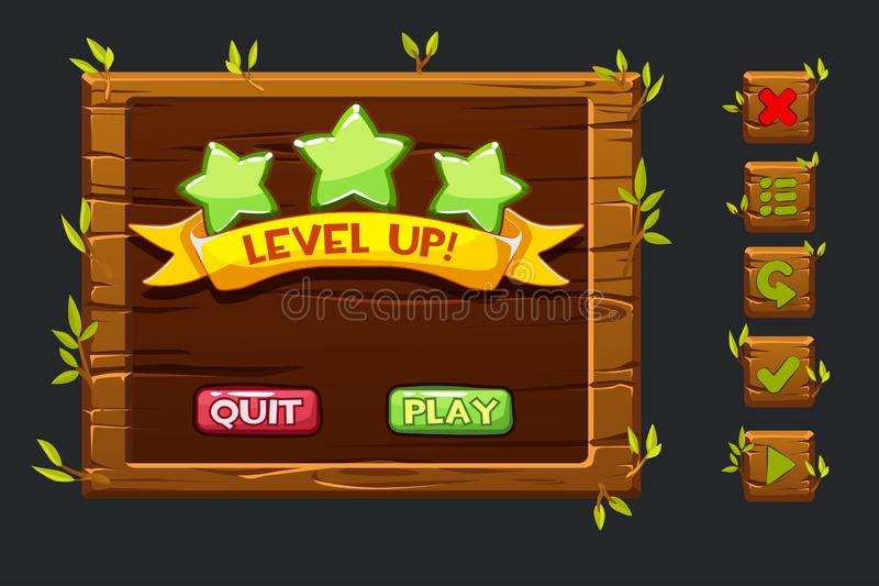 Vector game ui kit. Template wooden menu of graphical user interface GUI and buttons to build 2D games. Ribbon level up. Game ui kit. Template wooden menu of royalty free illustration
