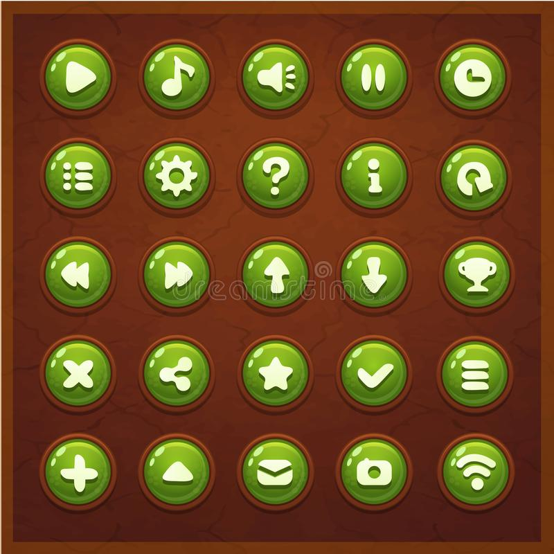 Game UI set buttons interface. Screen gameplay stock illustration