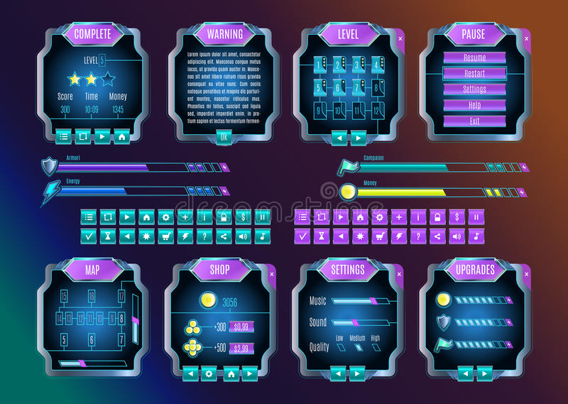 Game UI Space Graphical User Interface Set. Vector. Game UI. Space graphical user interface set. Mobile game appliance in colors of universe night sky vector illustration