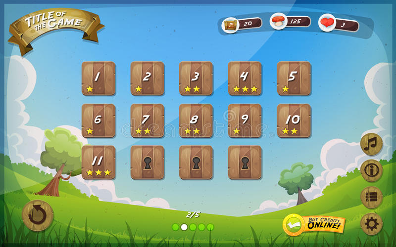 Game User Interface Design For Tablet. Illustration of a funny graphic game user interface background, in cartoon style with spring nature landscape, basic royalty free illustration