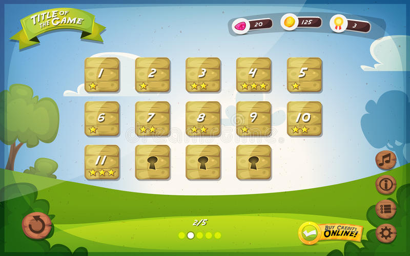 Game User Interface Design For Tablet. Illustration of a funny spring graphic game user interface background, in cartoon style with basic buttons and functions vector illustration