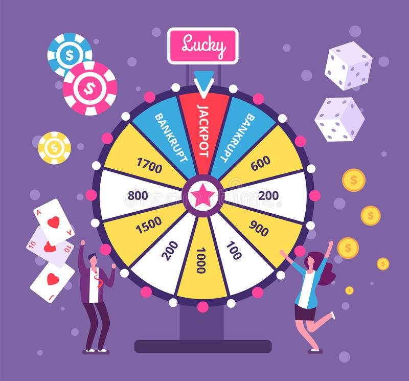 Game wheel concept. People playing risk game with fortune wheel and lottery. Casino and gambling vector background royalty free illustration