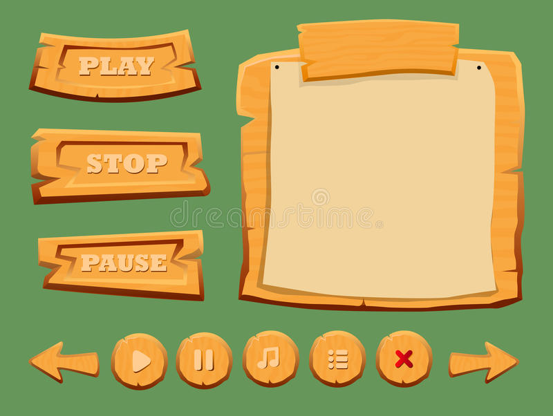 Game Wooden Interface Elements Set. With menu and navigation buttons of different shapes isolated vector illustration vector illustration