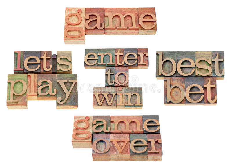 Download Game - Word Collage In Letterpress Type Royalty Free Stock Image - Image: 21469596