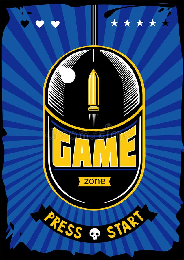 Game zone vintage poster. Computer video games retro illustration. Gaming vector background with mouse and bullet stock illustration