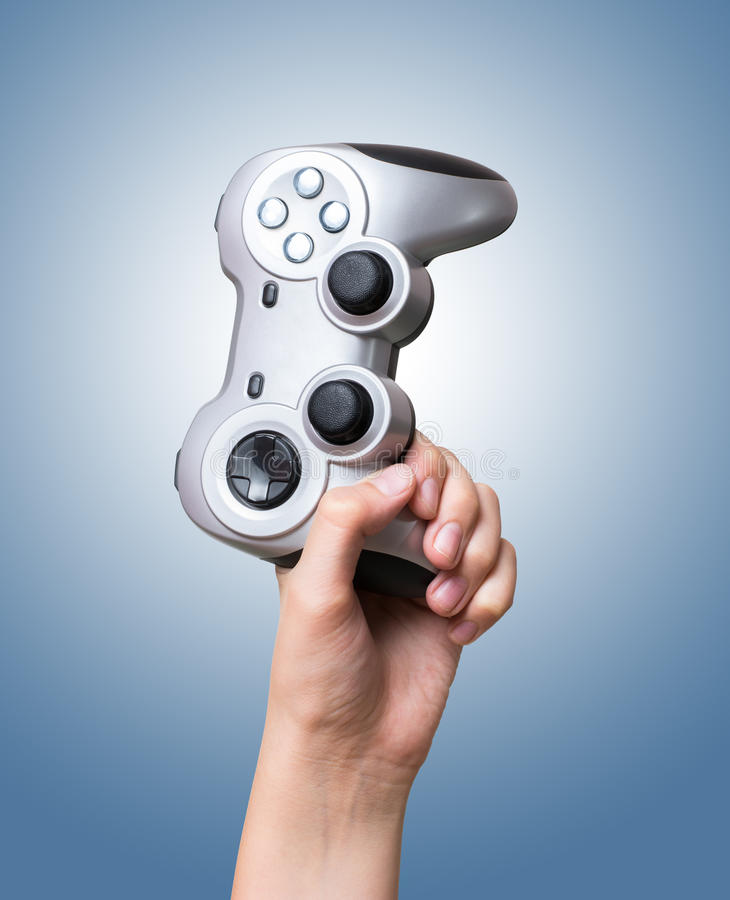 Gamecontroller in der Hand oben gezüchtet stockfotografie