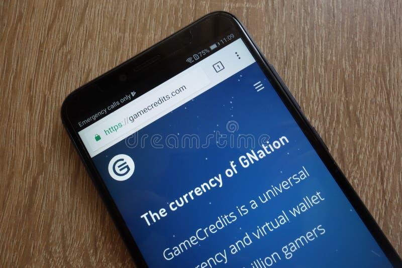 GameCredits MODIG cryptocurrencywebsite som visas på den Huawei Y6 smartphonen 2018 royaltyfri fotografi