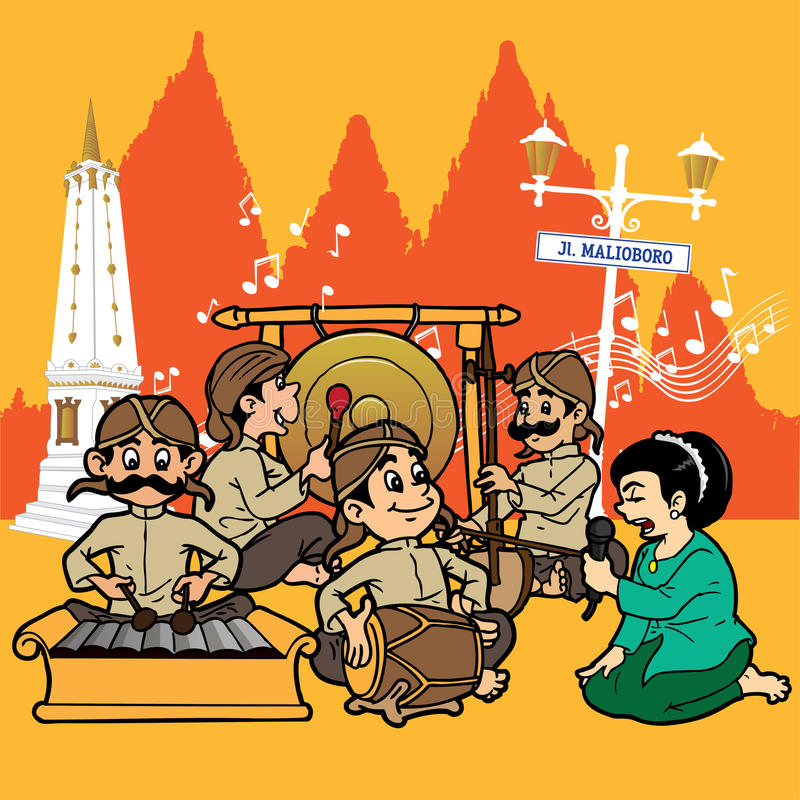 Gamelan and jogjakarta. A gamelan group is singing with a very melodic sung by a sinden vector illustration