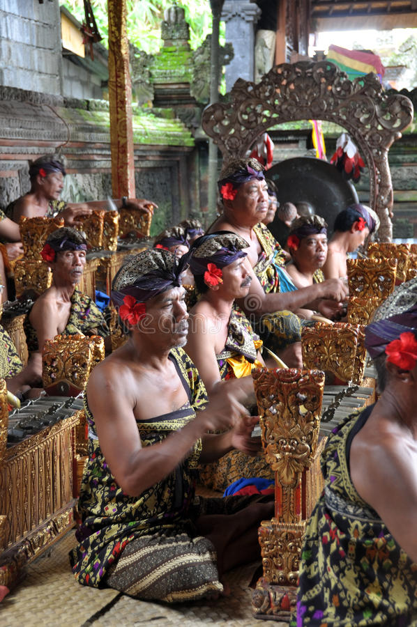 Gamelan Orchestra At Barong Dance, Bali Indonesia royalty free stock photos