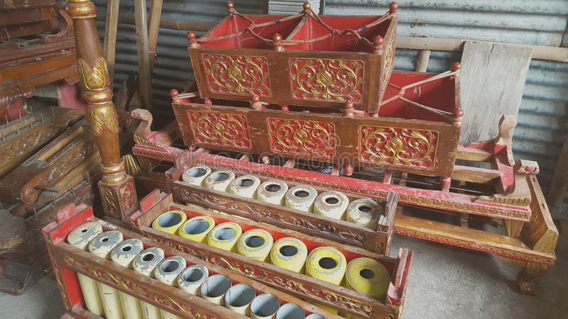 Gamelan, a traditional musical instrument from Java. This type of musical instrument is usually used for staging puppet art or other. Gamelan is one musical royalty free stock photos