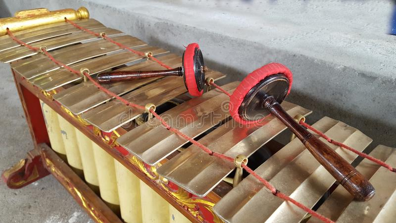 Gamelan, a traditional musical instrument from Java. This type of musical instrument is usually used for staging puppet art, gambyong or other. Gamelan is one royalty free stock photo