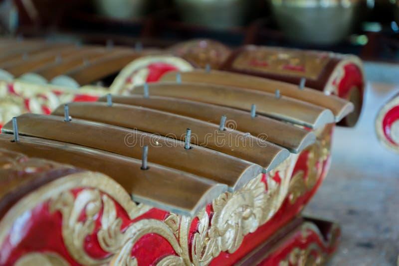 Gamelan, traditionele Balinese slaande muziekinstrumenten in Bali en Java, Indonesië royalty-vrije stock foto