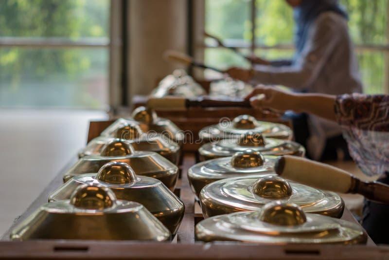 Gamelan, tradycyjni muzyczni instrumenty w Indonezja obraz royalty free
