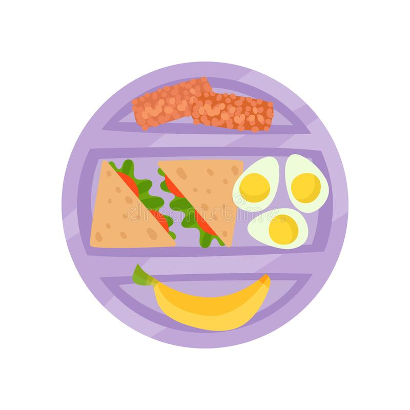 Gamelle pourpre ronde avec des desserts de sandwichs, d'oeufs à la coque, de banane et de chocolat Repas appétissant Icône plate  illustration stock
