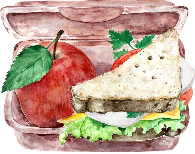 Gamelle verte saine d'école d'isolement sur le blanc avec du pain entier et la pomme rouge Illustration d'aquarelle illustration stock