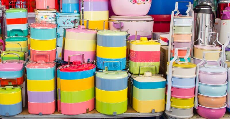 Gamelles colorées images libres de droits