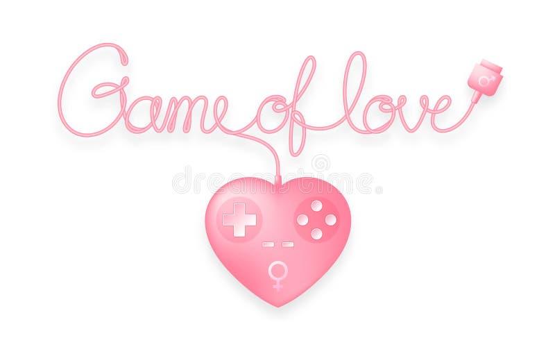 Gamepad或joypad心脏形状桃红色颜色与男性、女性性别由缆绳做的爱文本标志和比赛,华伦泰概念 向量例证