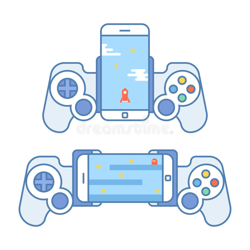 Gamepad για το τηλέφωνό σας Τα εξαρτήματα για τις κινητές συσκευές επιτρέπουν σε σας για να παίξουν τα τηλεοπτικά παιχνίδια Πηδάλ απεικόνιση αποθεμάτων