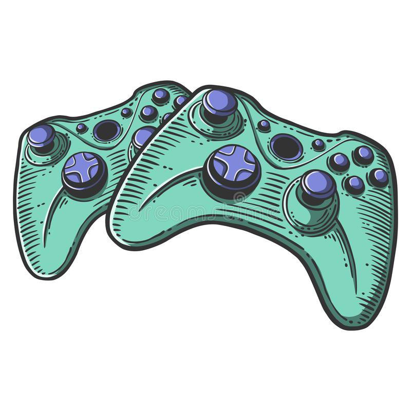 Gamepad Concepto del vector en estilo del garabato y del bosquejo Ejemplo exhausto de la mano para imprimir en las camisetas, pos libre illustration