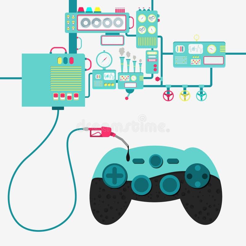 Gamepad e produção de petróleo ilustração do vetor