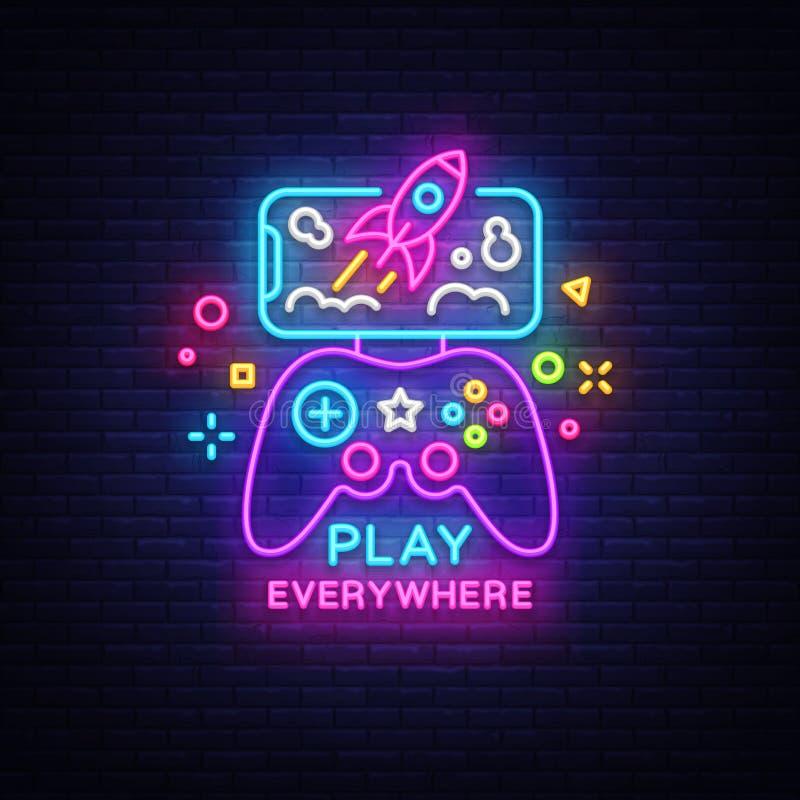Gamepad en Smartphone-neontekenvector Spelen voor Smartphone Logotype, Embleem in Modern Tendensontwerp, Vectormalplaatje stock illustratie