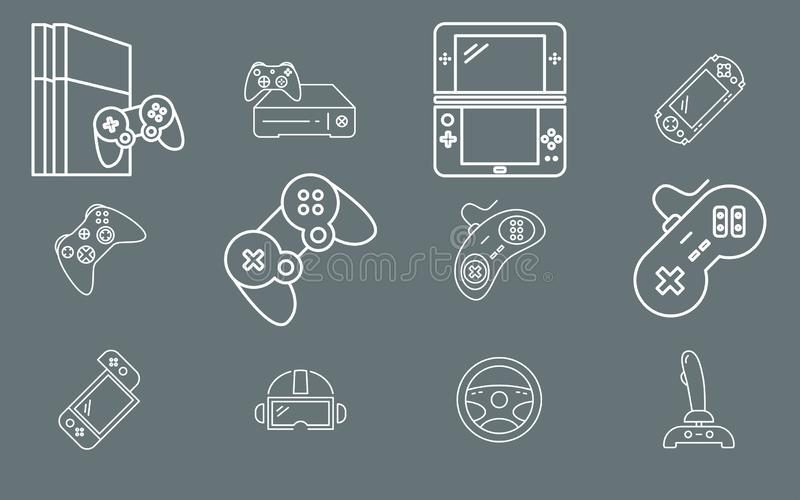 Gamepad and Game console - Icons Set Vector outline for Web or Mobile 01 vector illustration