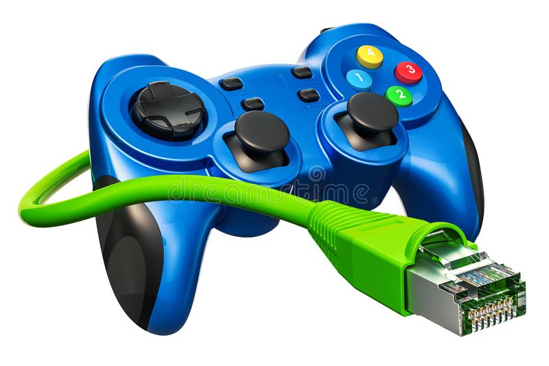 Gamepad, game controller with lan cable. 3D rendering. Isolated on white background stock illustration