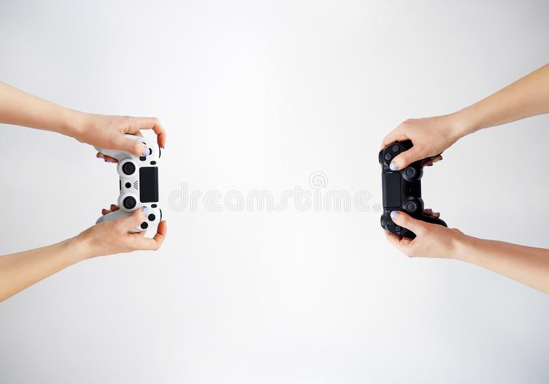 Gamepad in hand. Video games. Gamer. Game contest stock images