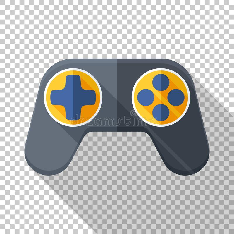 Gamepad icon in flat style on transparent background. Gamepad icon in flat style with long shadow on transparent background stock illustration