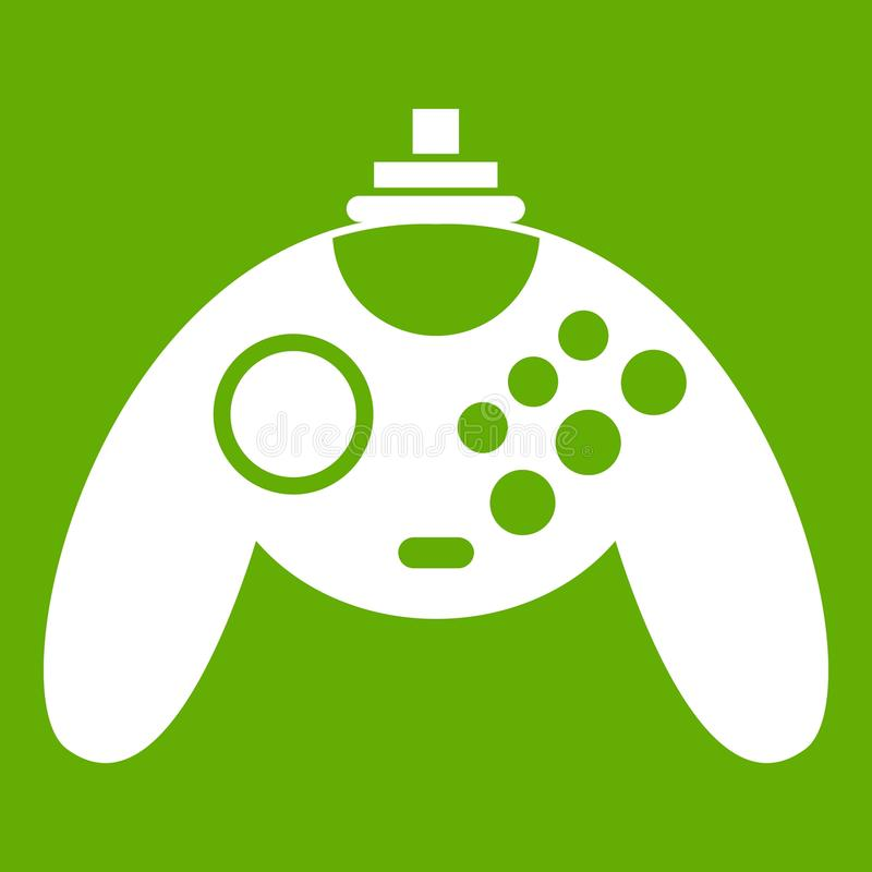 Gamepad icon green. Gamepad icon white isolated on green background. Vector illustration stock illustration