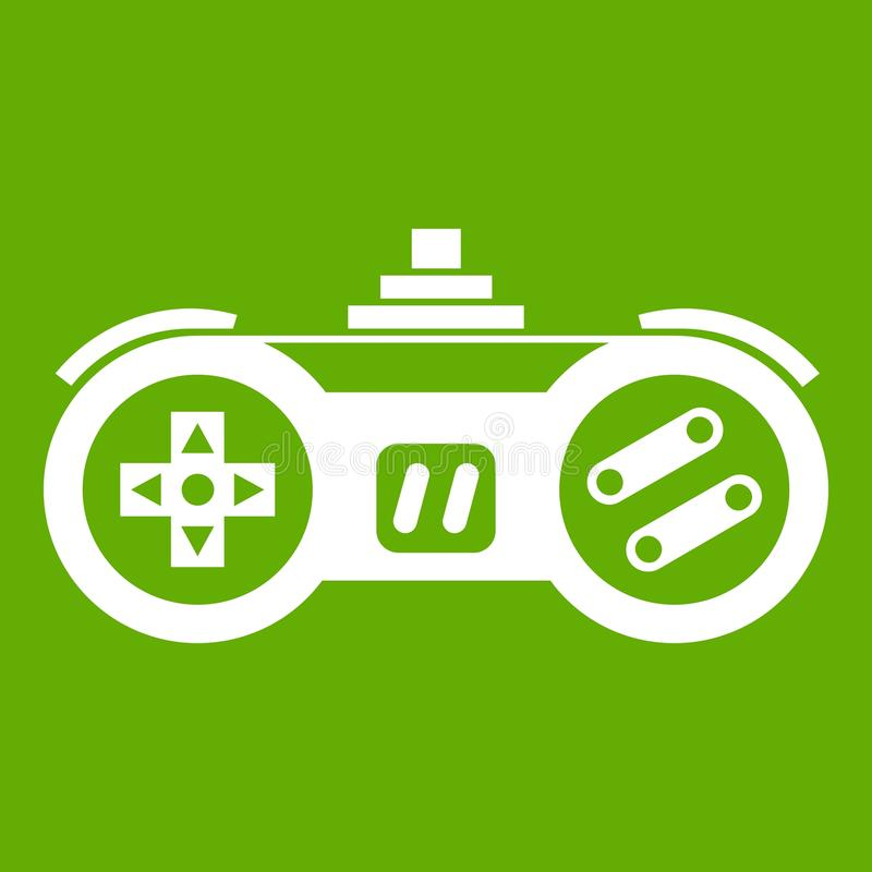 Gamepad icon green. Gamepad icon white isolated on green background. Vector illustration royalty free illustration