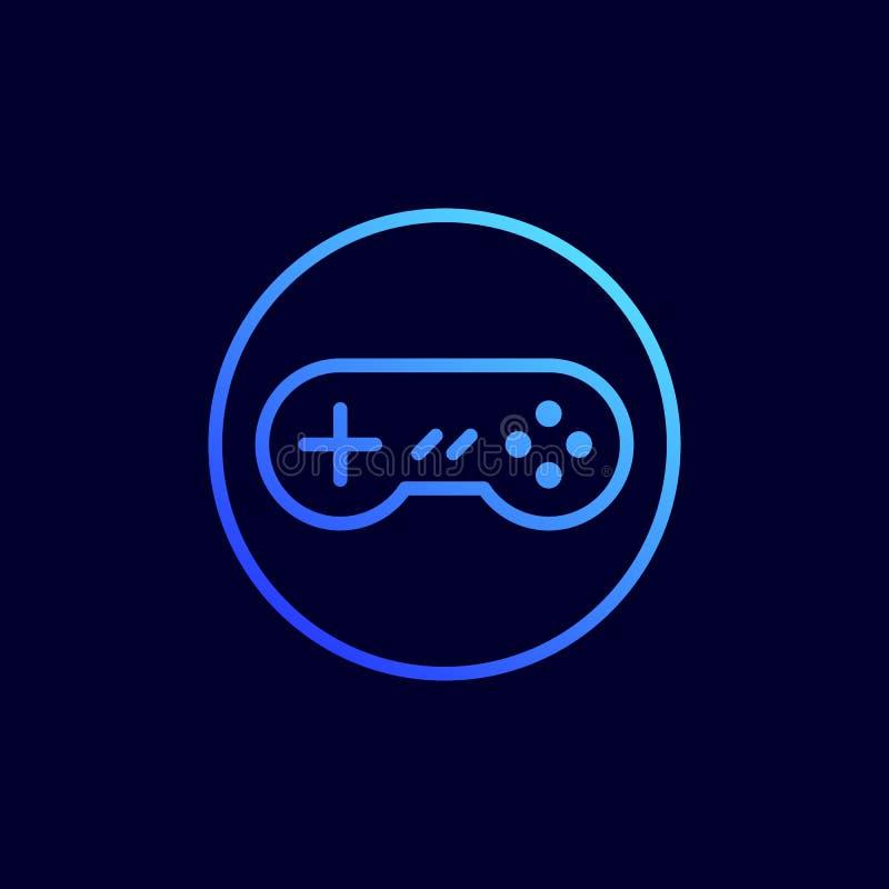 Gamepad icon. Vector illustration in flat line style.  vector illustration