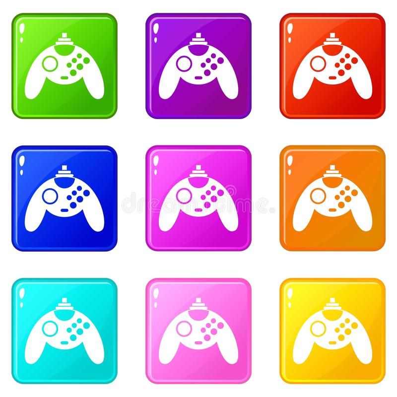 Gamepad icons 9 set. Gamepad icons of 9 color set isolated vector illustration vector illustration