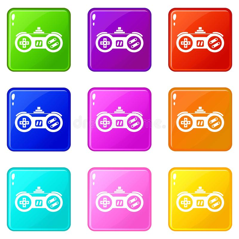 Gamepad icons 9 set. Gamepad icons of 9 color set isolated vector illustration stock illustration